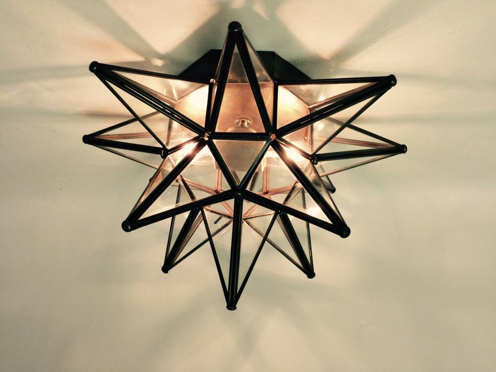 moravian star ceiling light wall sconce 15 glass hand crafted. Black Bedroom Furniture Sets. Home Design Ideas