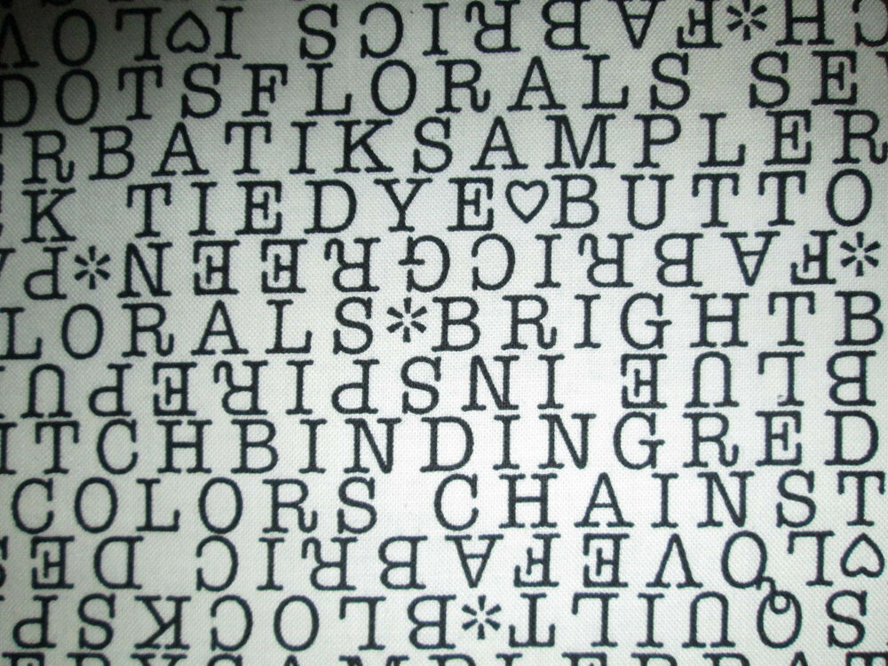 sewing words knitting text black white cotton fabric fq ebay