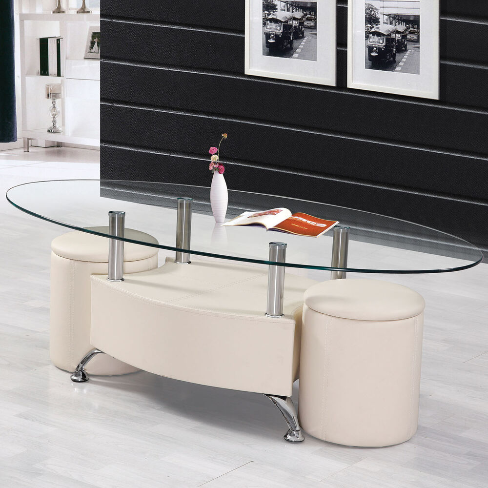 3pc Cream Oval Tempered Clear Glass Top Pu Upholstery Coffee Table Ottoman Set Ebay