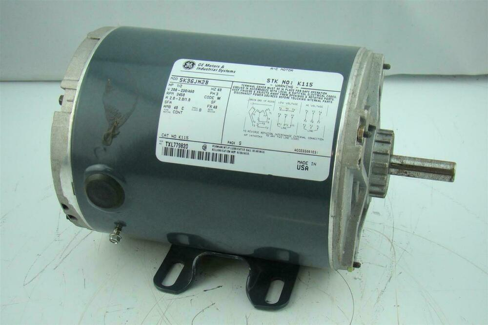 Ge motor hp 3450 rpm 3 phase 230 460 vac 5k38pn2a ebay for 3 phase 3hp motor