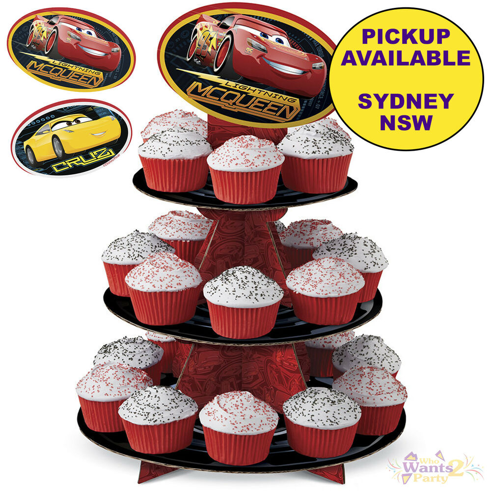 Details About DISNEY CARS 3 PARTY SUPPLIES WILTON CUPCAKE STAND BIRTHDAY CAKE TREAT HOLDER