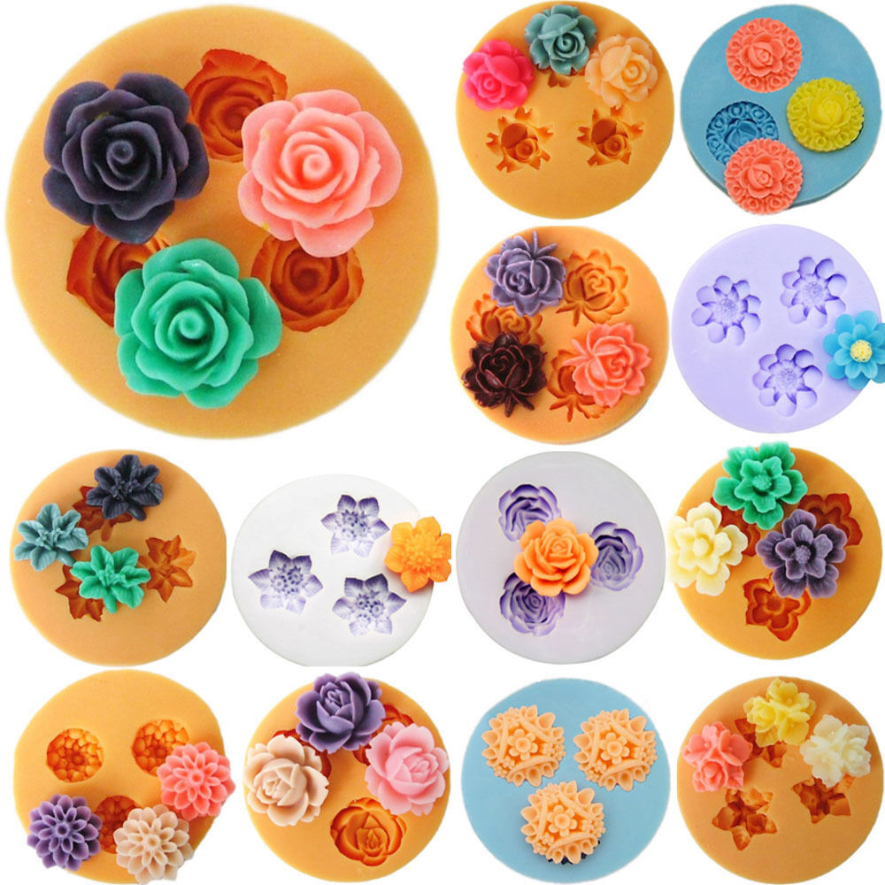 Cake Art Candy Molds : Flower Silicone Mould Clay Candy Cake Chocolate Mold ...
