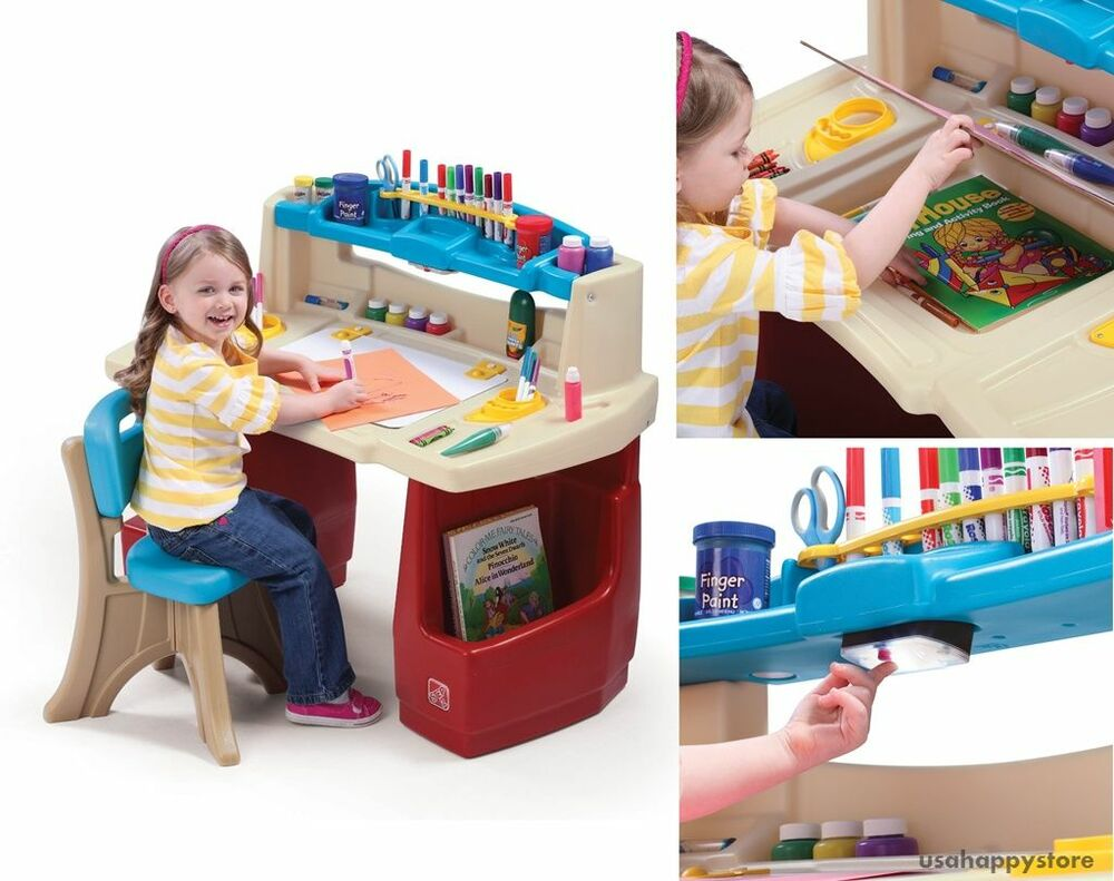 step2 kids art desk and chair storage art supplies activity table playroom craft ebay. Black Bedroom Furniture Sets. Home Design Ideas