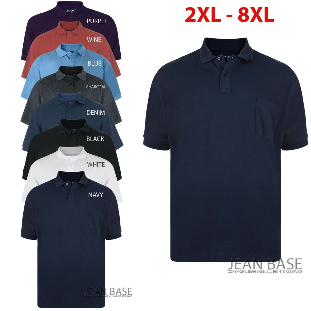 Mens kam designer polo neck pocket t shirt top tee big for Mens shirts tall sizes