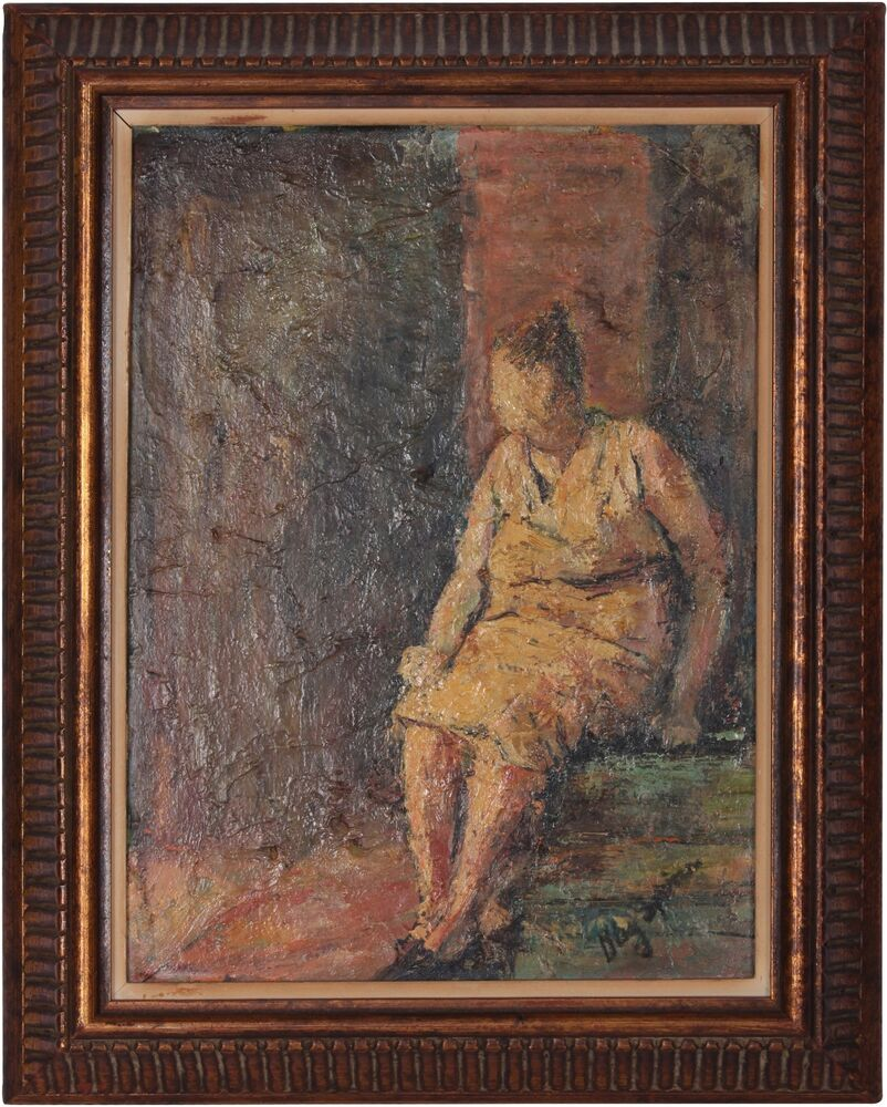 Vintage Oil Painting Woman In Repose Signed Kay Spina