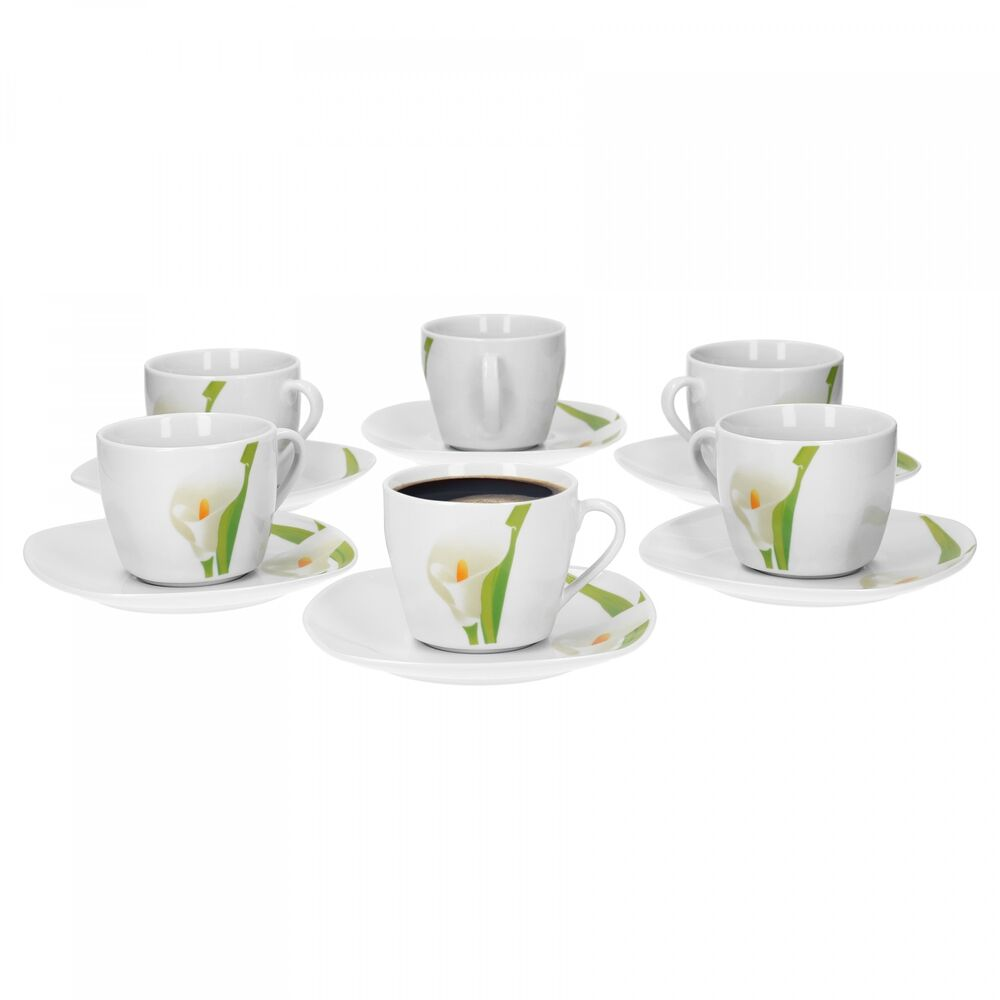 6er set kaffeetasse mit kaffeeuntertasse calla tasse wei geschirr porzellan 4250857237920 ebay. Black Bedroom Furniture Sets. Home Design Ideas