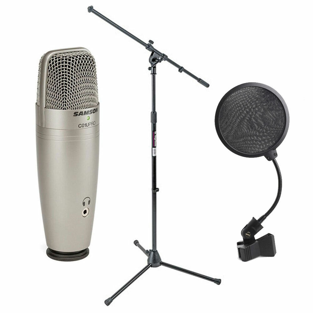 Mic Stand With Pop Filter : samson c01u pro usb studio condenser mic ms7701b boom mic stand pop filter 809164016045 ebay ~ Hamham.info Haus und Dekorationen