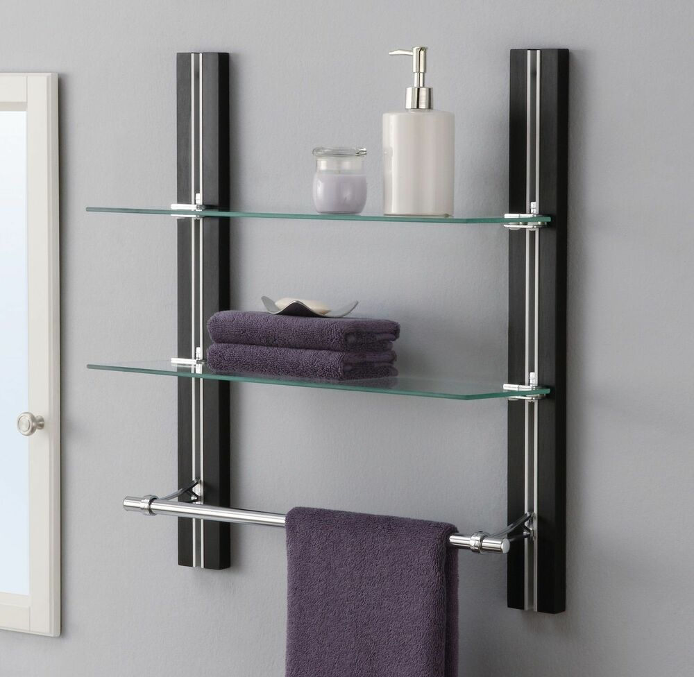 Bathroom Shelf Organizer Glass Towel Rack Bar Wall Mounted Holder 2 Tier Storage Ebay