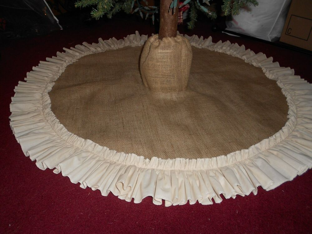Burlap Christmas Tree Skirt With Boot Top! Country