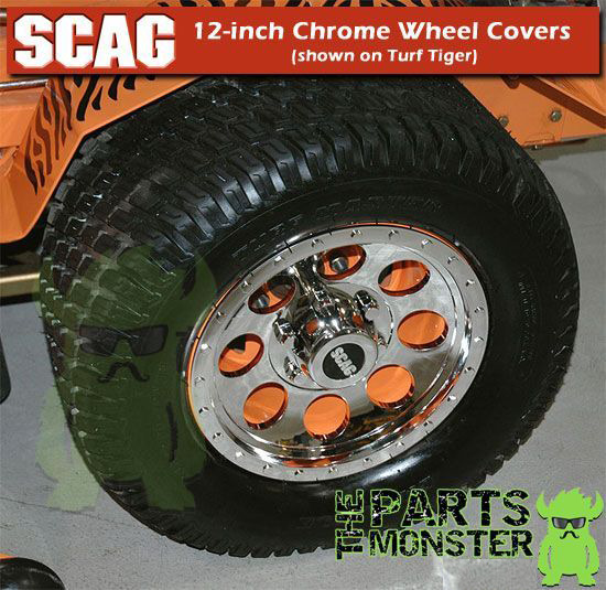 Lawn Mower Wheel Hubcaps : Scag j quot chrome wheel cover hub caps fits
