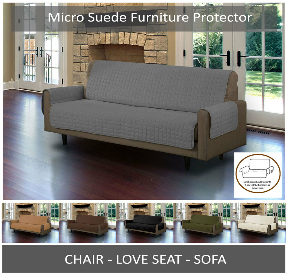 quilted micro suede pet dog couch sofa furniture protector cover with tuck drops ebay. Black Bedroom Furniture Sets. Home Design Ideas