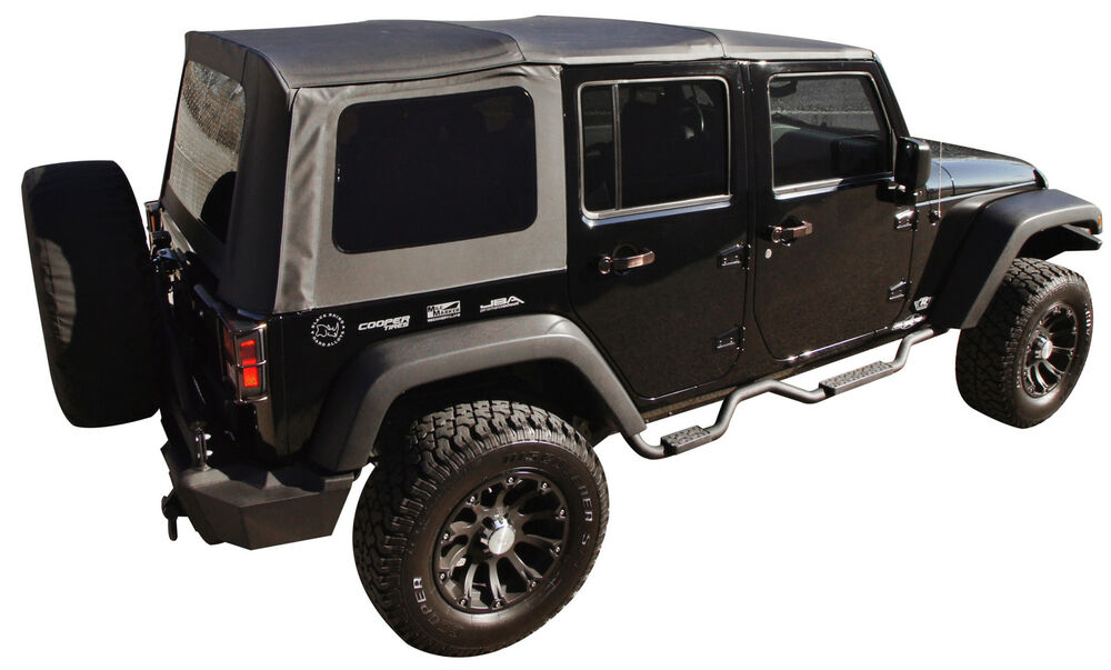 2017 Jeep Wrangler Unlimited Lift Kit >> 2010-2016 JEEP WRANGLER UNLIMITED 4 DOOR REPLACEMENT BLACK SOFT TOP TINT WINDOWS | eBay