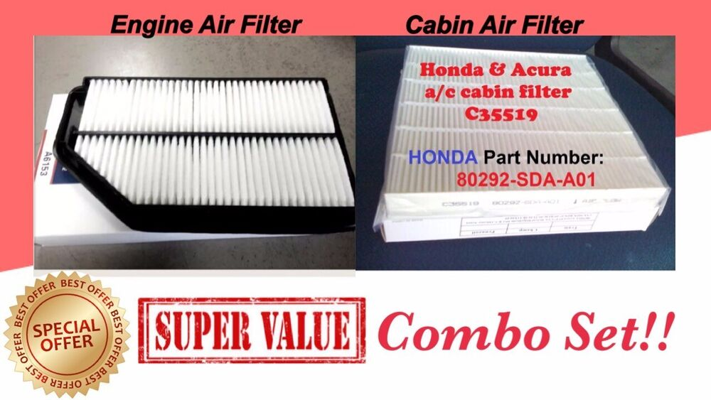 Engine Amp Cabin Air Filter For Odyssey 2011 2012 2013 2014