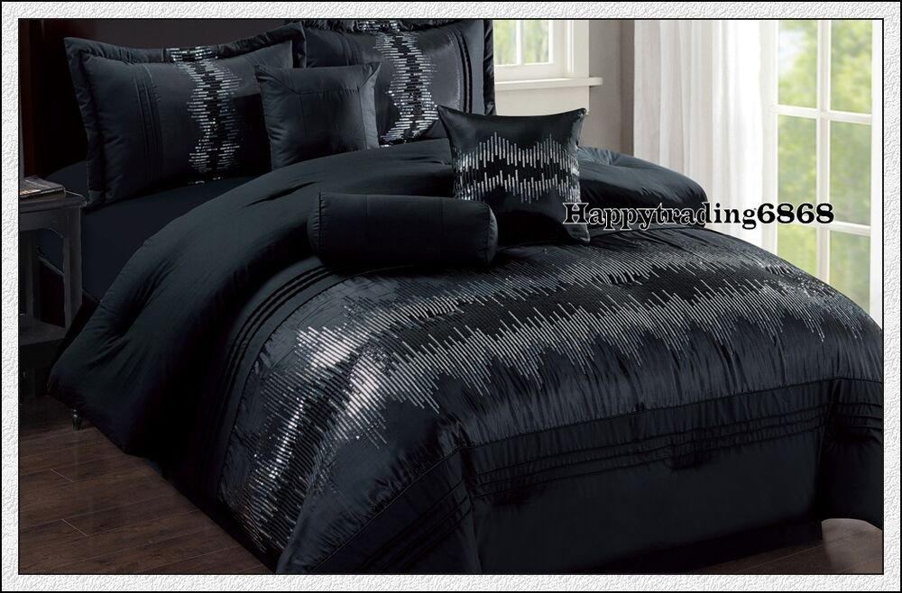 Black Sequin Embr Pintuck 7pc King Queen Comforter Set