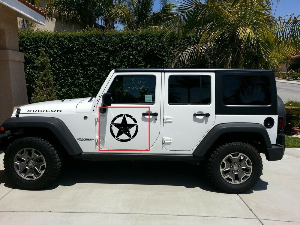 2x Decal Sticker For Jeep Wrangler Rubicon Army Star On