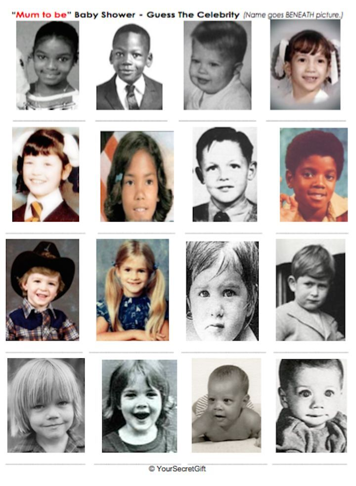 Guess the Baby Celebrity Game Baby Shower Game Celebrity ...