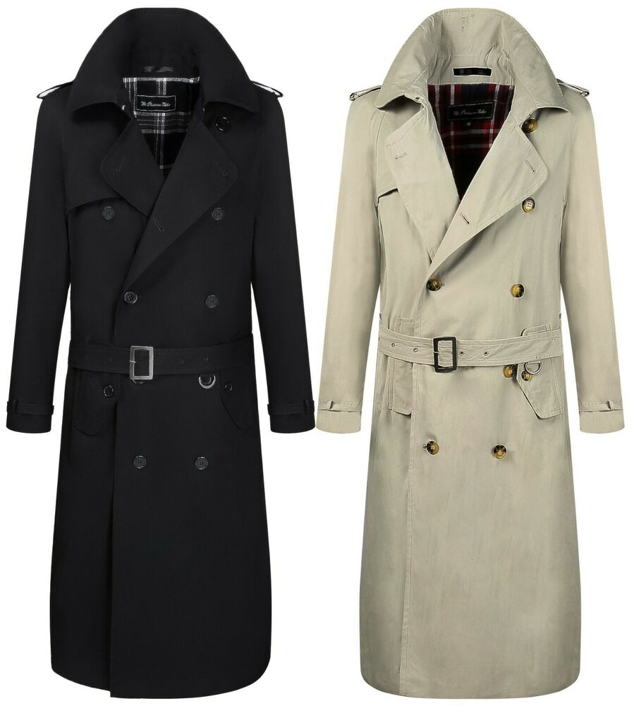 Men Traditional Double Breasted Long Trench Coat Rain ...