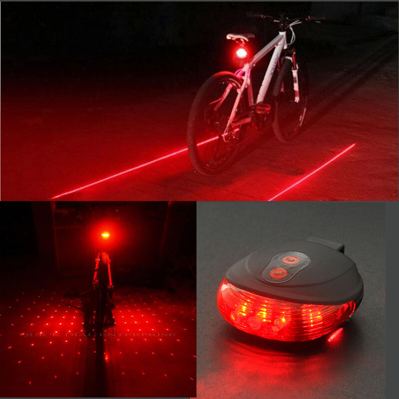 cycling red blue 5 led 2 laser line dot tail light bike flashing warning ebay. Black Bedroom Furniture Sets. Home Design Ideas