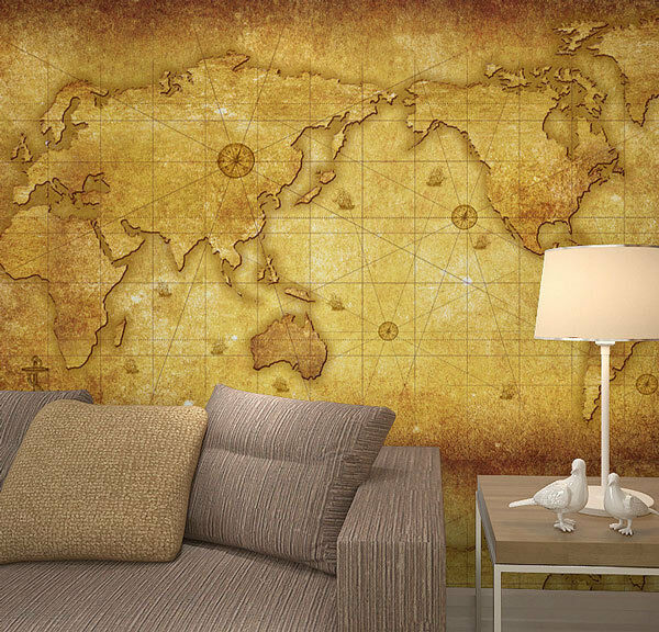 Vintage old world map crafter wallpaper full wall mural for Home wallpaper ebay