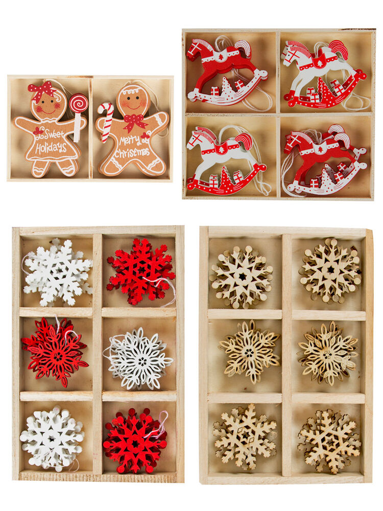 Wooden Hanging Christmas Tree Decorations Set Shapes Xmas Traditional ...