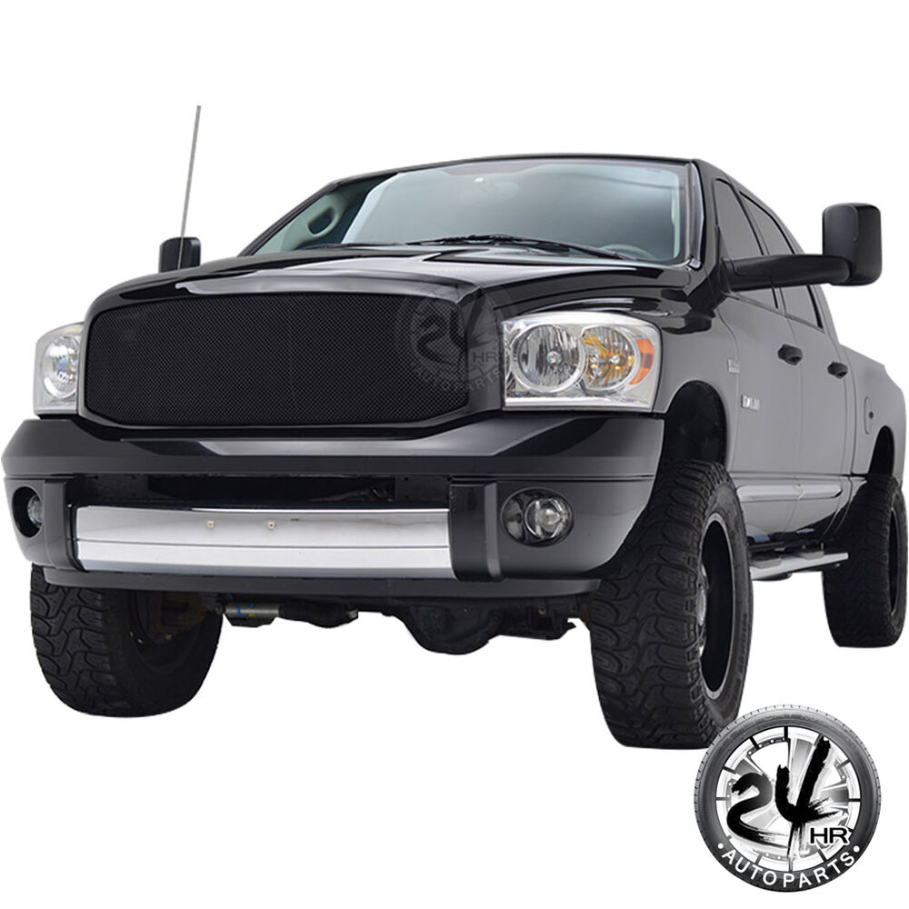 black stainless steel wire mesh grille with shell for 06 08 dodge ram 1500 2500 ebay. Black Bedroom Furniture Sets. Home Design Ideas