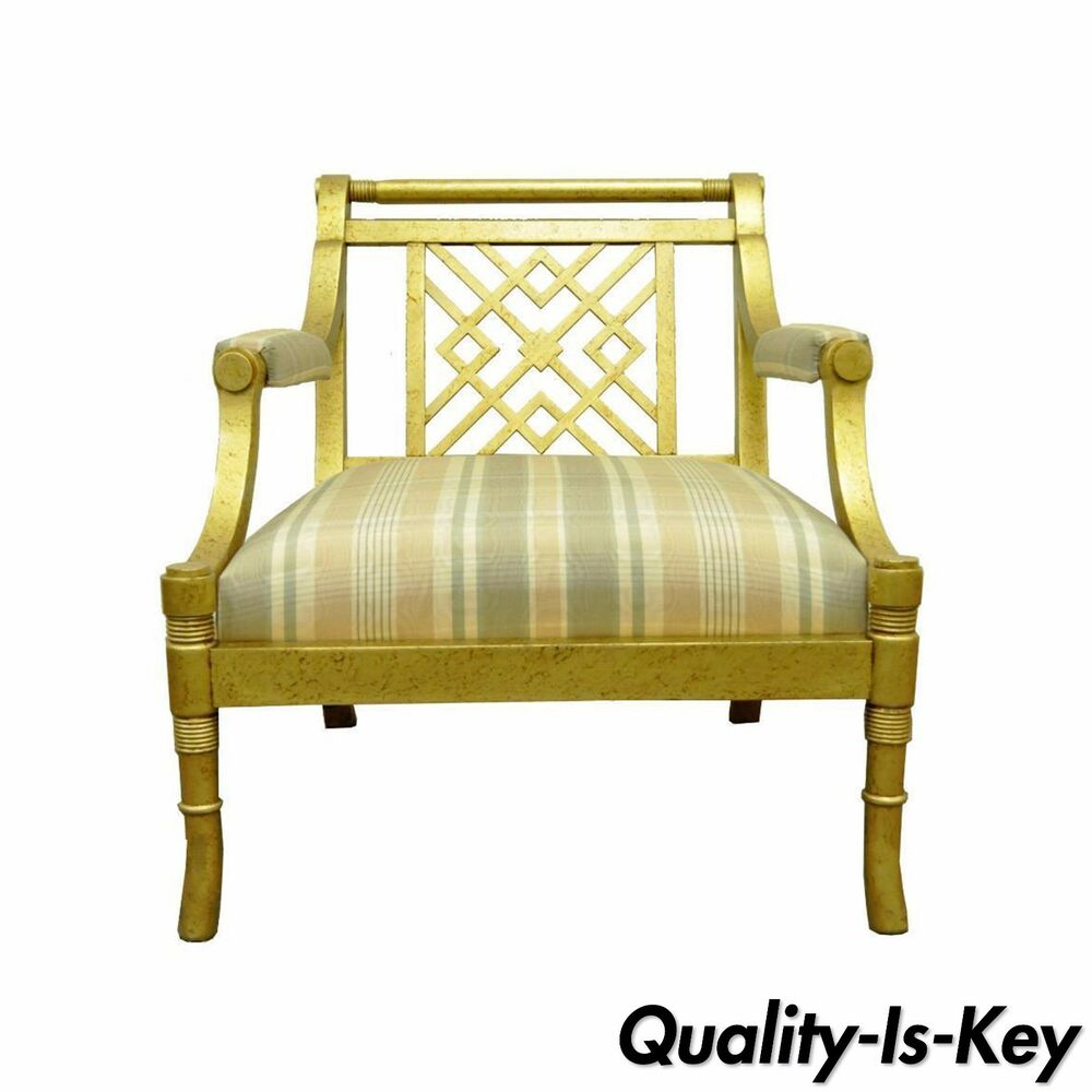 regency gold lattice back wood lounge fireside arm chair vtg ebay