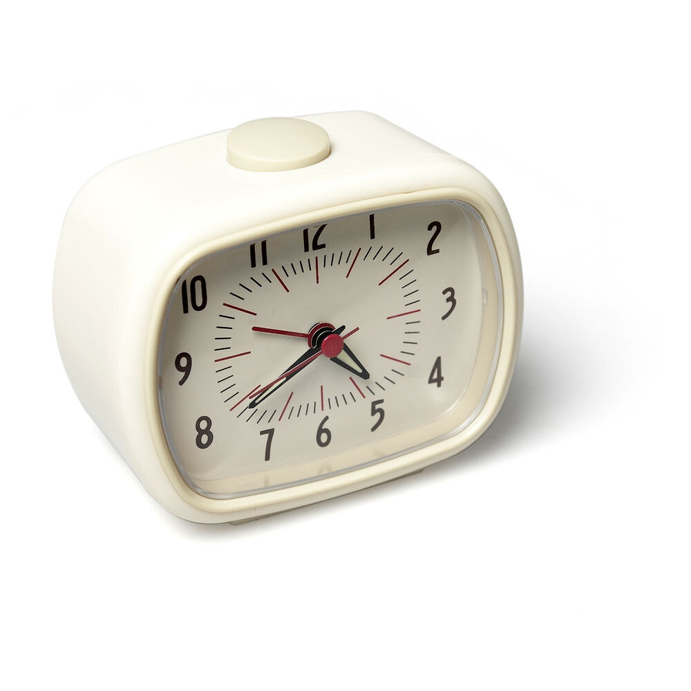 dotcomgiftshop ivory retro style alarm clock ebay. Black Bedroom Furniture Sets. Home Design Ideas