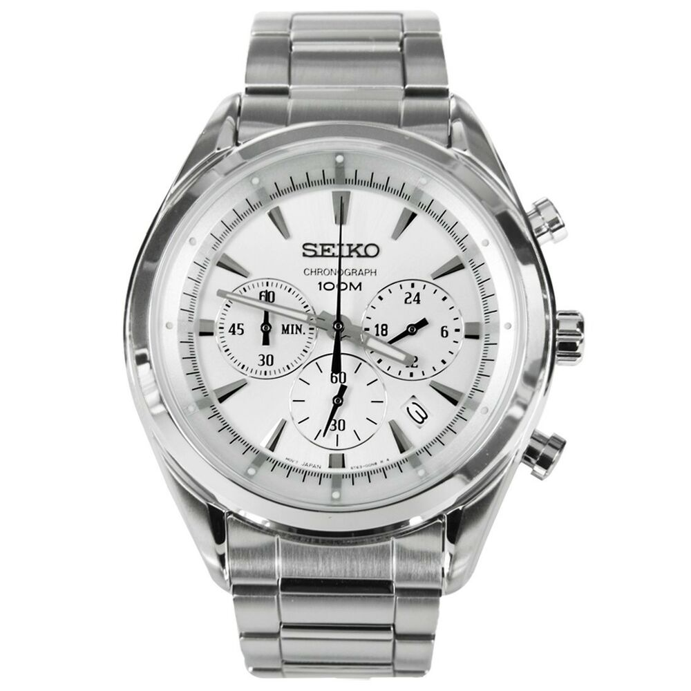 Seiko chronograph 100m stainless steel men 39 s watch ssb085p1 ebay for Metal watches