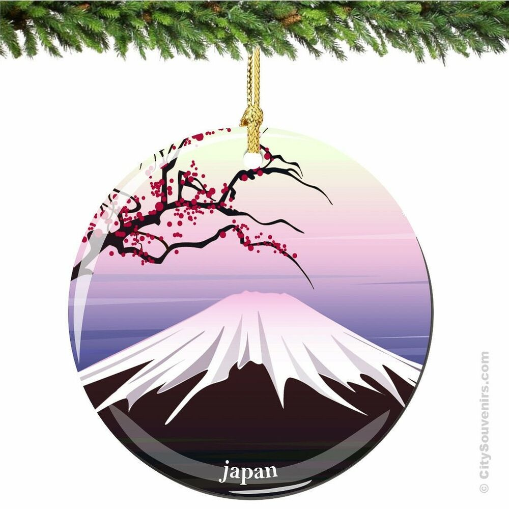 Japanese Christmas Ornament, Porcelain Mount Fuji and ...