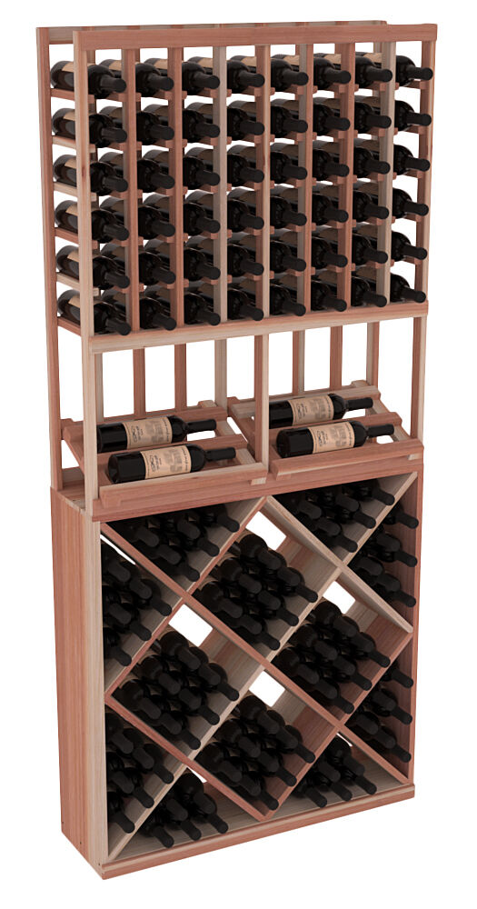 Wooden side display diamond cube combo wine cellar rack for Home wine cellar kits