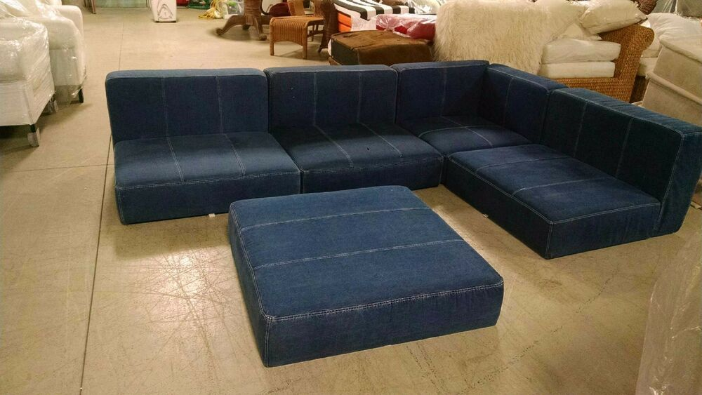 5 Pc Pottery Barn Teen Cushy Lounge Floor Corner Chair And Ottoman Denim Sofa Ebay