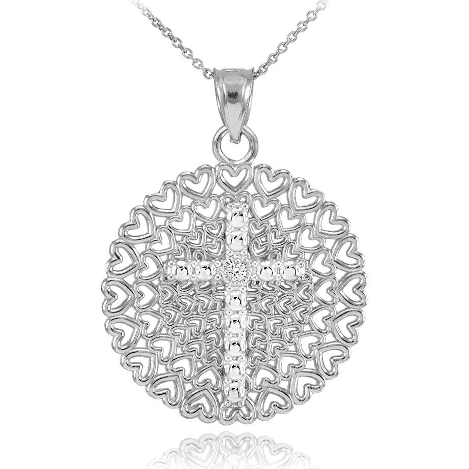 White Gold Filigree Heart Cross Diamond Pendant Necklace
