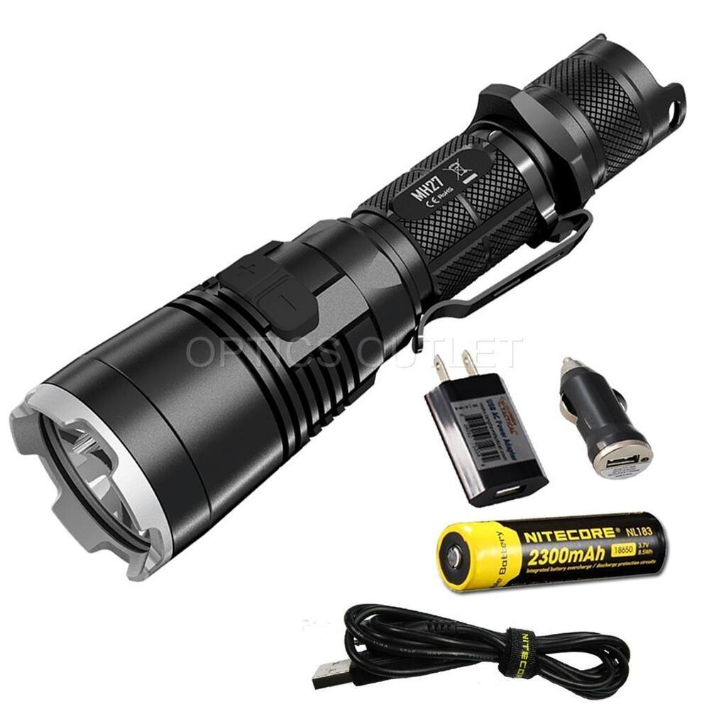 nitecore mh27 1000 lumen rechargeable led flashlight w wrgb leds 18650 battery ebay. Black Bedroom Furniture Sets. Home Design Ideas