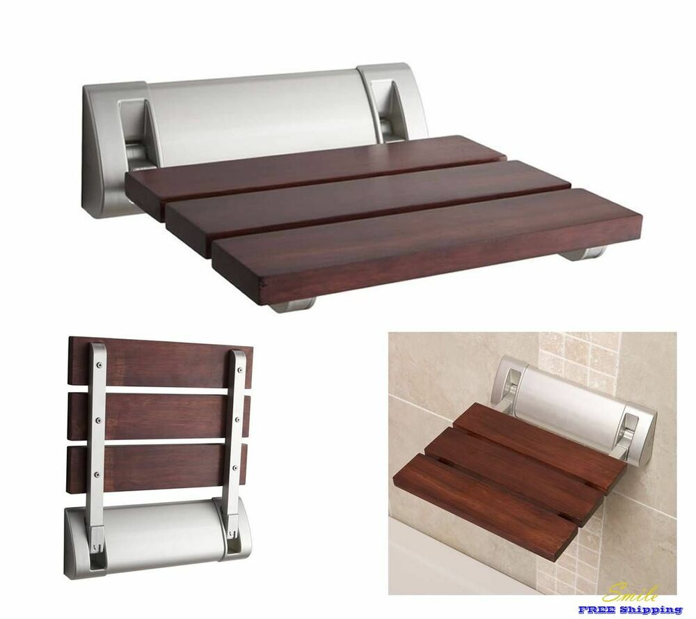 Folding Chair Shower Seat Bath Wall Mounted Wood Luxury Spa Bench Hudson Reed Ebay