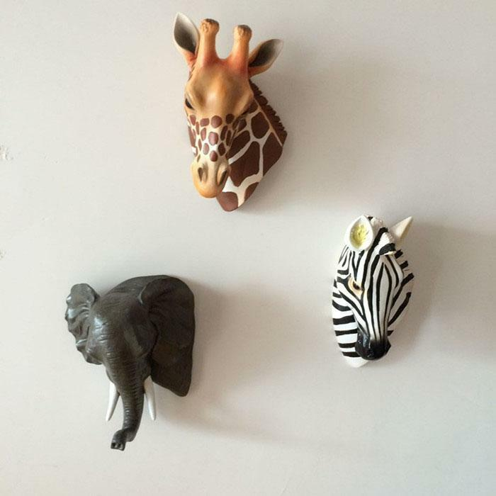 Resin Crafts 3d Animal Horse Elephant Deer Head Wall