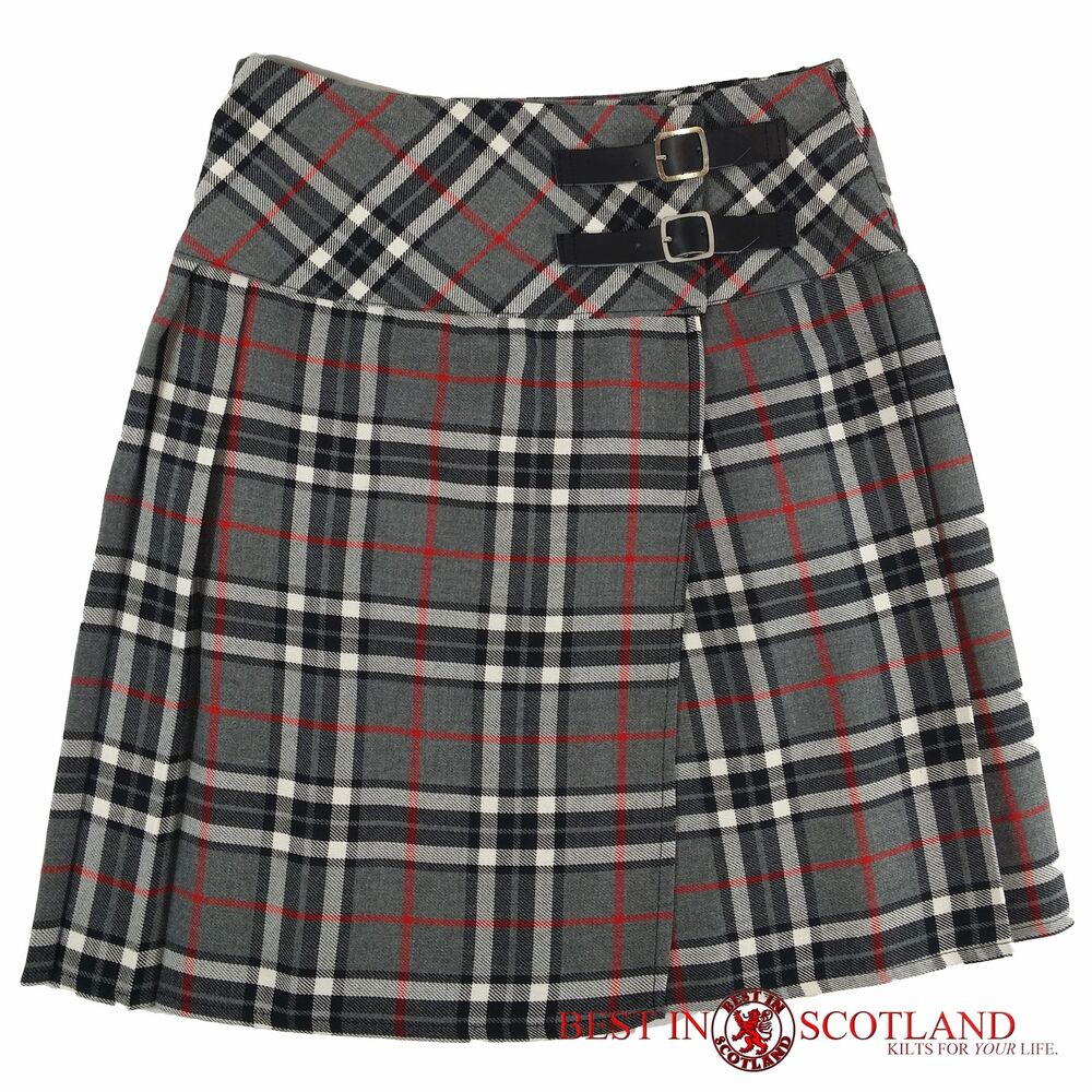 grey and white tartan skirt mid length 18 quot leather