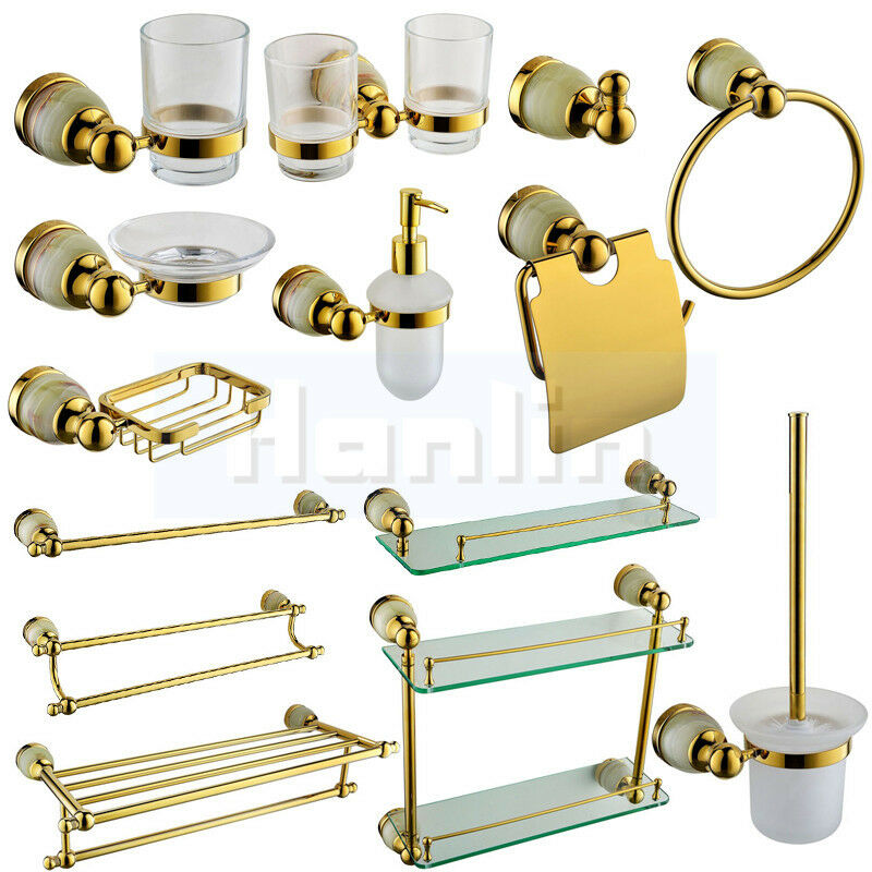 Luxury golden brass stone bathroom accessory towel bar for Rack for bathroom accessories