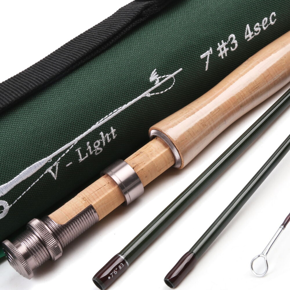 3weight fly rod 7foot 4piece medium fast graphite fly for Ebay fishing rods