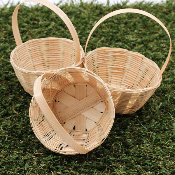 Basket Weaving With Bamboo : Mm round handmade artificial weaving basket bamboo wood
