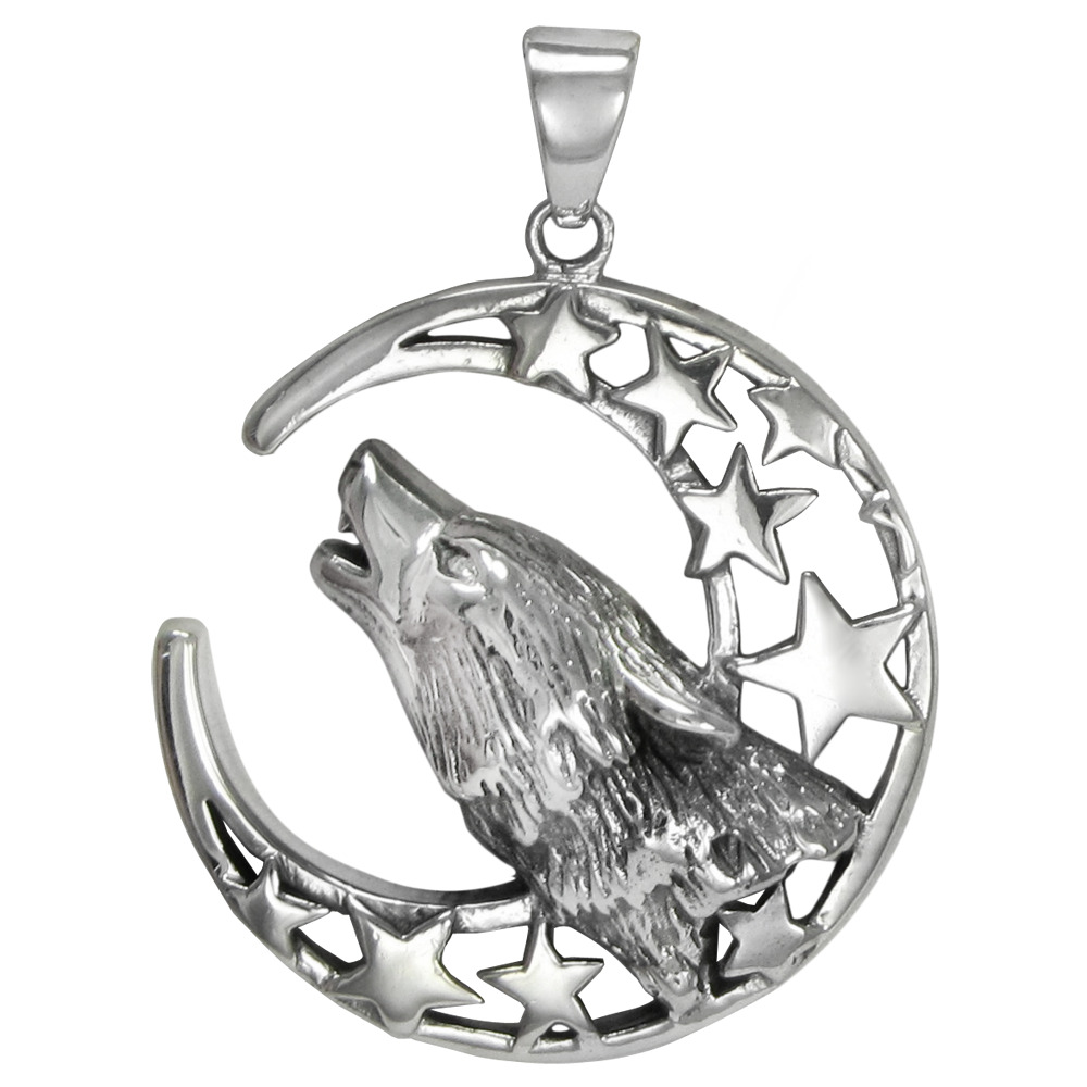 Sterling Silver Howling Wolf Crescent Moon Pendant Lunar