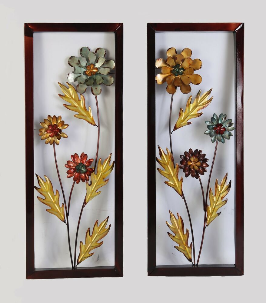 Wall Art Flowers Pictures : Framed yellow blue metal flower wall decor accent for