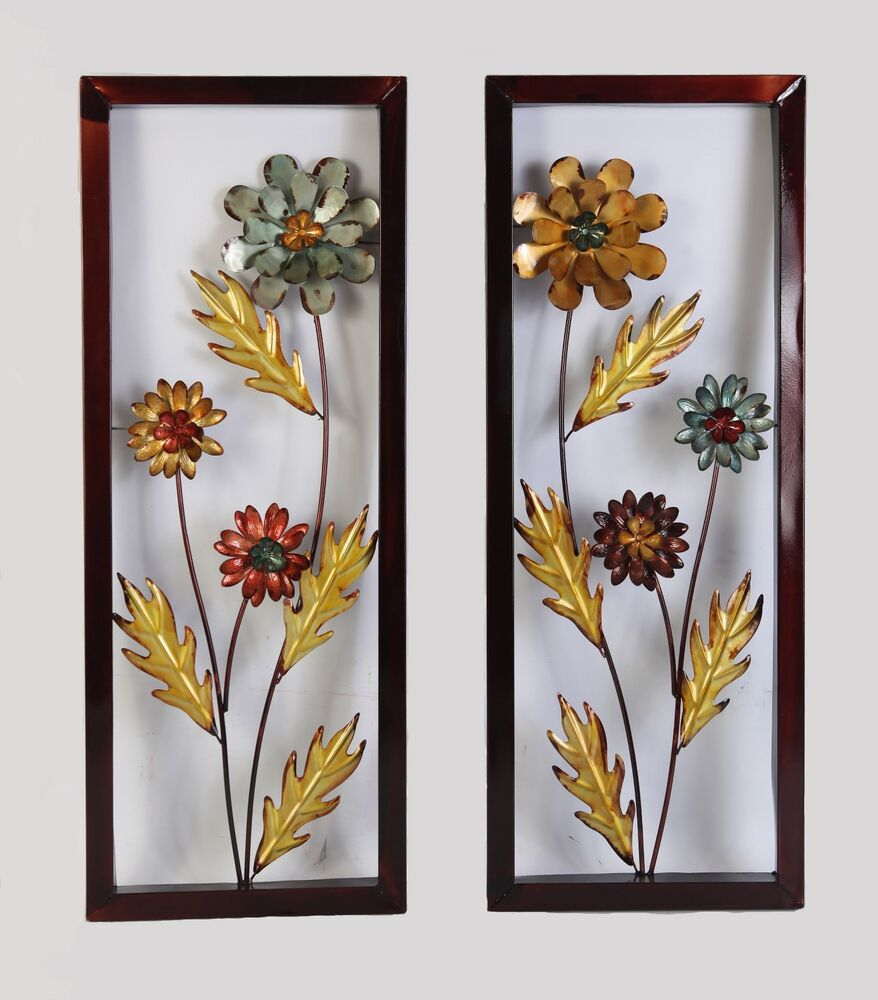Framed yellow blue metal flower wall decor accent for for Metal flower wall art