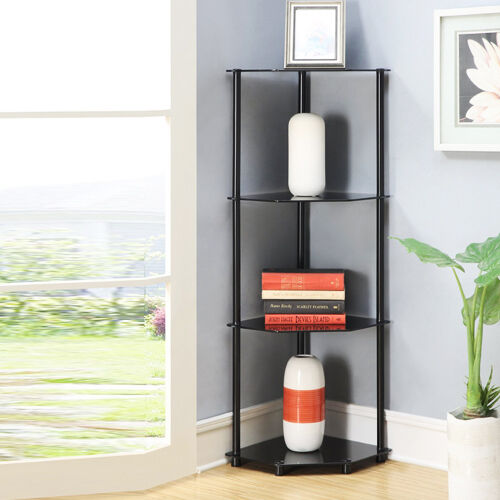 Corner shelf rack 4 tier black glass bath living dining - Glass corner shelf for living room ...