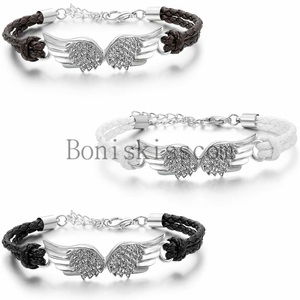 Vintage Angel Wing Leather Braided Men's Women Cuff Bangle ...