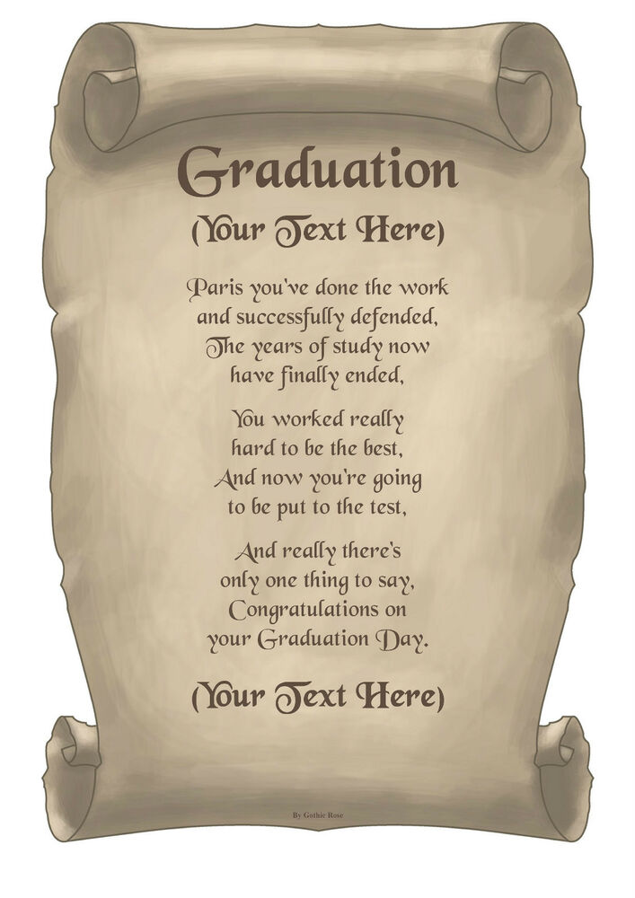 Personalised A4 A5 Quot Graduation Quot Poem Scroll Gift Various
