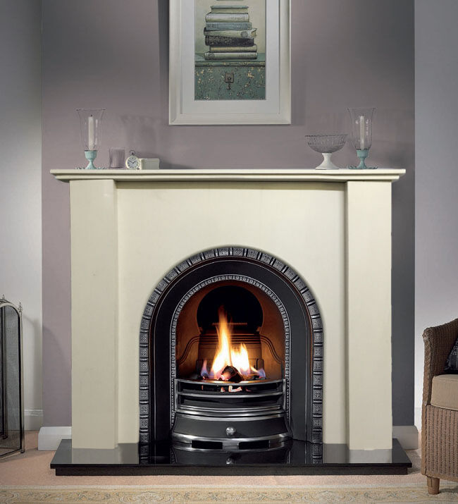 White Solid Marble Arch Fire Surround Fireplace