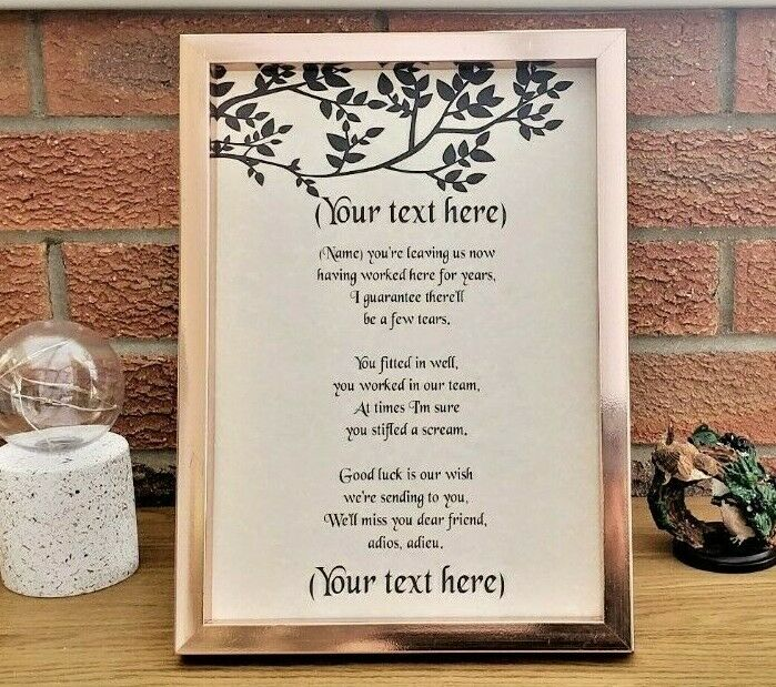 "Personalised A4 / A5 ""Leaving Job"" Poem Scroll Gift ..."