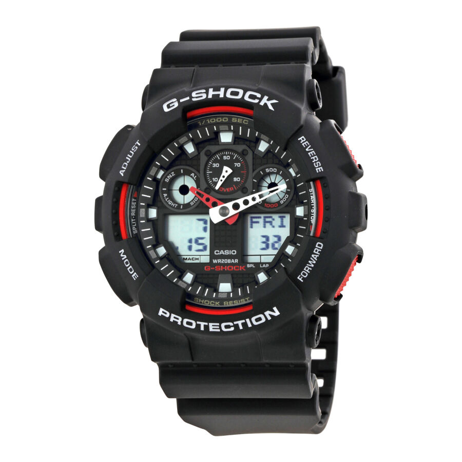 Casio G-Shock Black Resin Strap Mens Watch GA100-1A4 | eBay