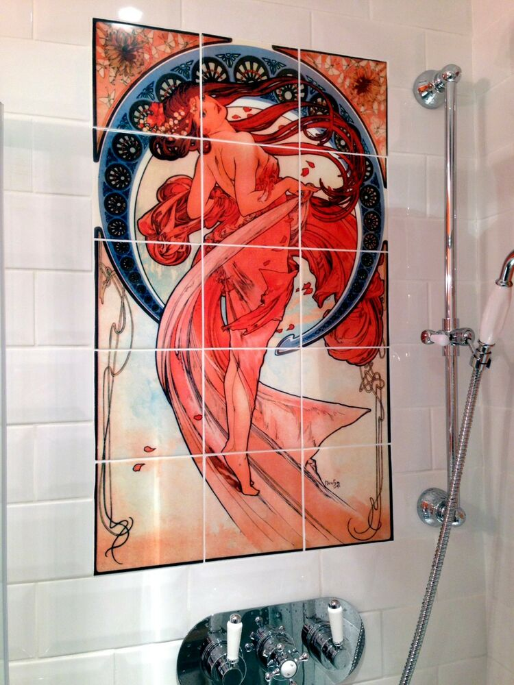 Art nouveau alphonse mucha mural ceramic bath backsplash for Artwork on tile ceramic mural