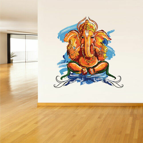 Full color wall decal sticker ganesh om lotos hindu - Watch the elephant in the living room ...